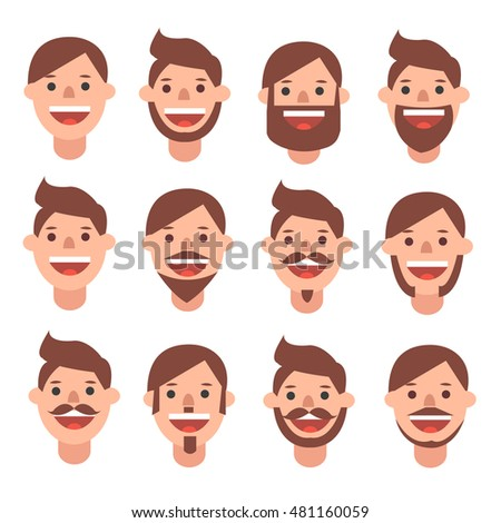 Happy man faces with different kind of beards. Flat style vector
