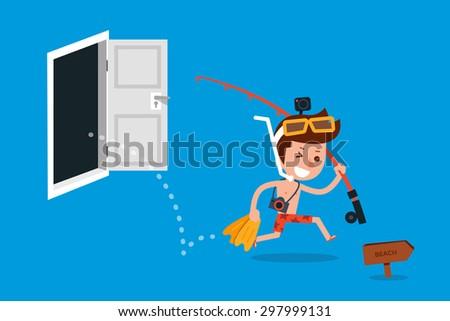 Happy man going on vacation flat design cartoon. - stock vector