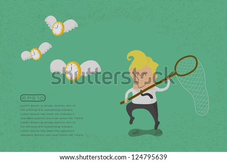 happy man hunting flying time  , eps10 vector format - stock vector