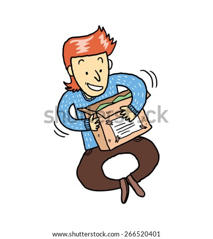 happy man opening package from online store - stock vector