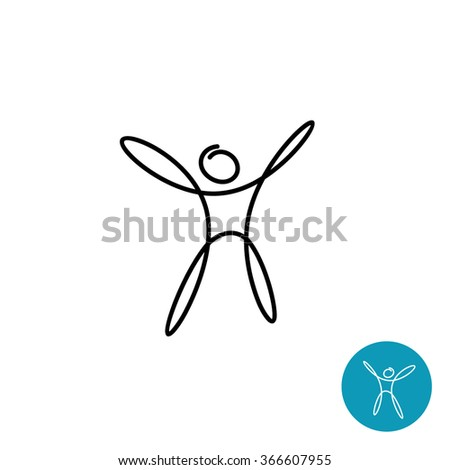 Happy man silhouette linear style simple logo - stock vector