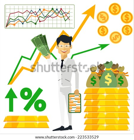 Happy man trader holding dollars in hand and near him on background gold bars and graph arrow indicators up flat design style - stock vector