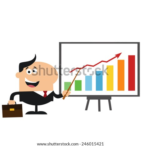 Happy Manager Pointing To A Growth Chart On A Board.Flat Style Vector Illustration Isolated On White