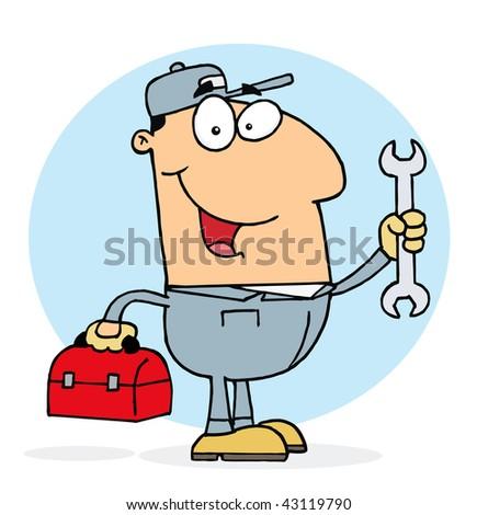 Happy Mechanic Guy - stock vector
