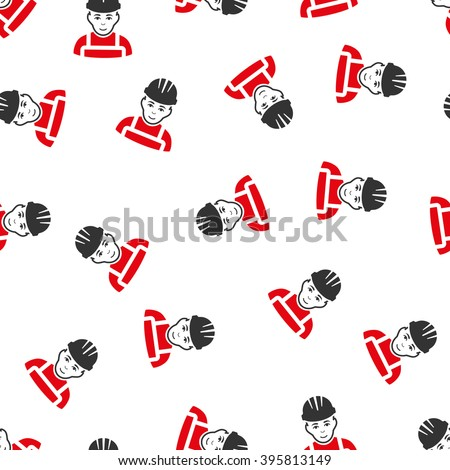 Happy Mechanic vector seamless repeatable pattern. Style is flat red and dark gray Happy mechanic symbols on a white background. - stock vector