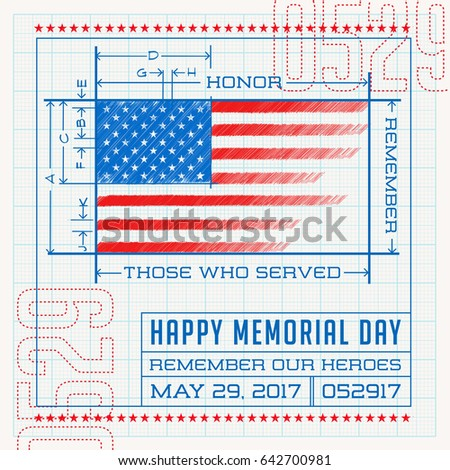 Happy memorial day card banner american stock vector 642700981 happy memorial day card or banner american flag design as a blueprint or diagram malvernweather Gallery