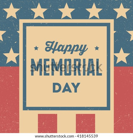 Happy Memorial Day. Retro background - stock vector