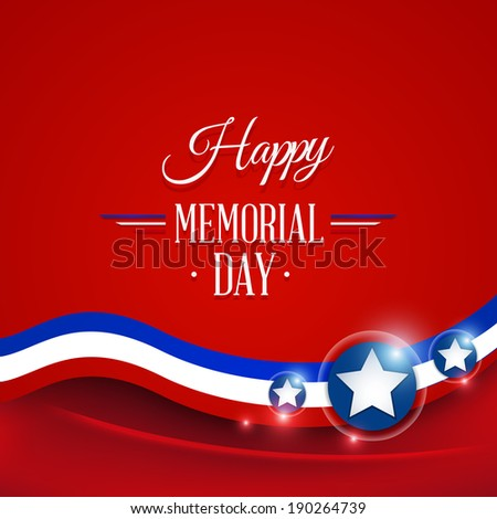 Happy Memorial day symbol red background. vector illustration - stock vector