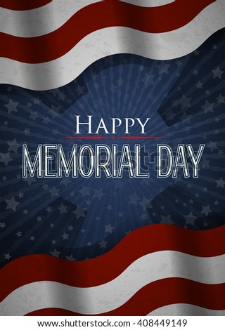 Happy Memorial Day vector poster background. Stars and Stripes - stock vector