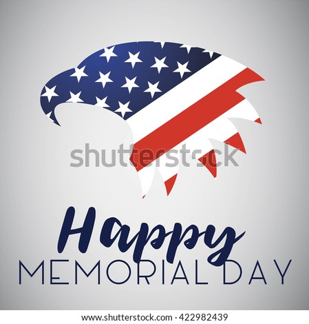 Happy Memorial Day with American Eagle. Isolated on white.