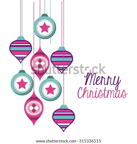 happy merry christmas card design, vector illustration eps10 graphic  - stock vector