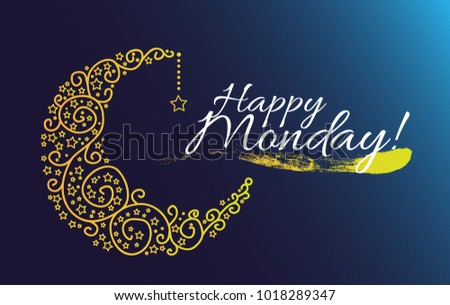 Happy monday beautiful greeting card moon stock vector 2018 happy monday beautiful greeting card with moon and star m4hsunfo
