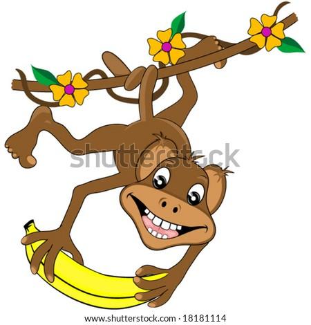 Happy monkey and banana vector. - stock vector