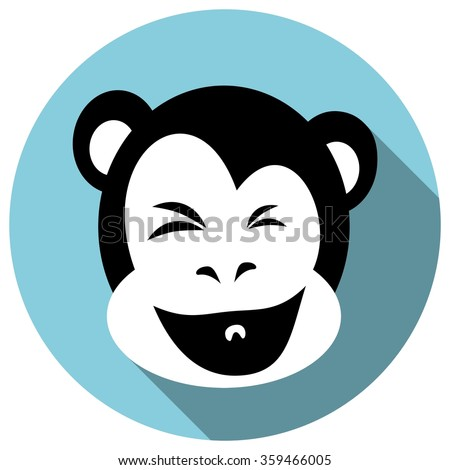 Happy Monkey Face. Flat style with Long Shadow. The year of monkey 2016