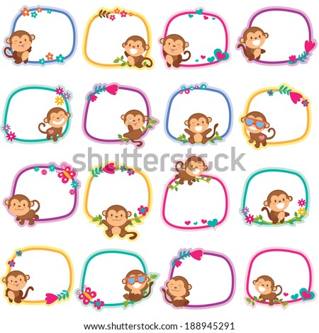 happy monkey layout design - stock vector