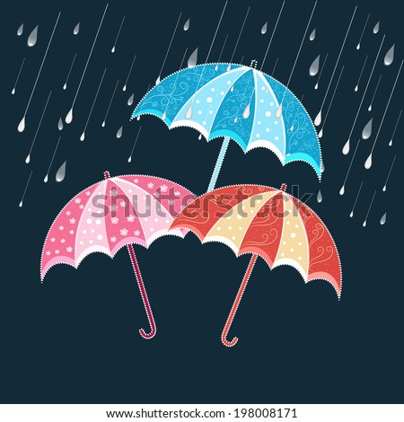 Happy Monsoon background with colorful umbrellas in the rain.