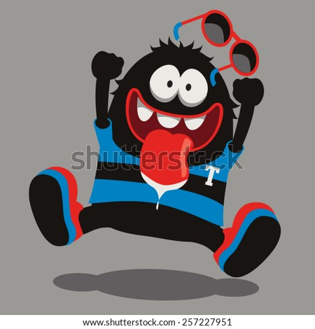happy monster vector design - stock vector