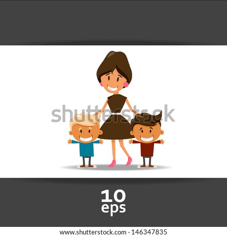 Happy mother and children - stock vector