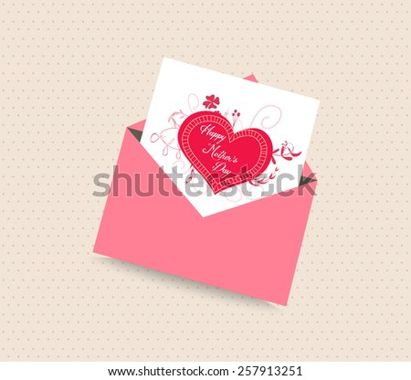 happy mother day card with envelope heart - stock vector