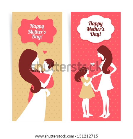 Happy Mother's Day. Banners of beautiful silhouette of mother and baby in vintage style - stock vector