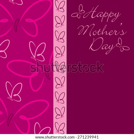 Happy Mother's Day butterfly card in vector format. - stock vector