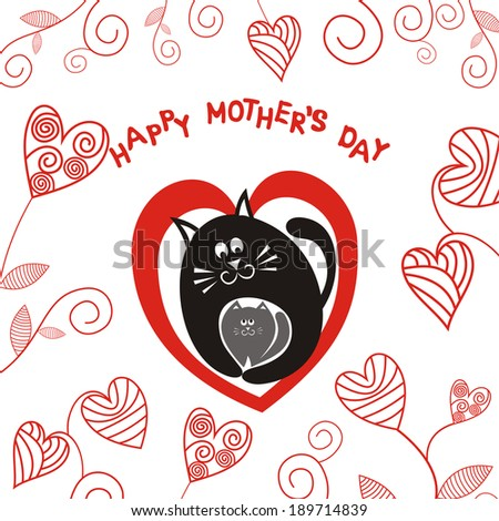 Happy mother's day card cat and kitten heart vector illustration