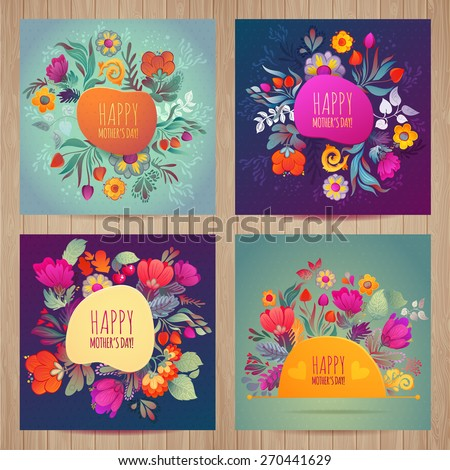 Happy Mother's Day card set Floral Compositions Tulip Daisy Cherry - stock vector