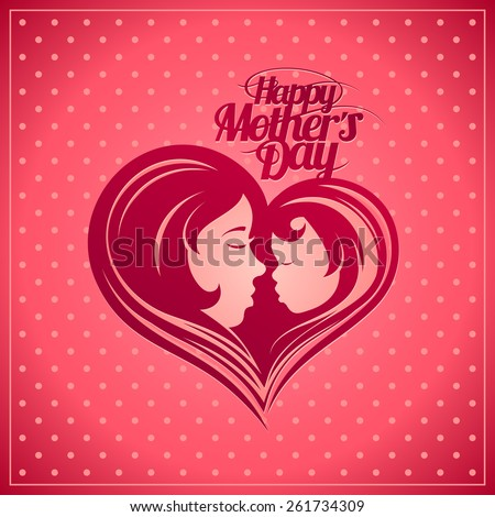 Happy Mother's Day card with mother and child heart-shaped silhouette in a profile. - stock vector