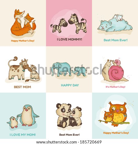 Happy Mother's Day Cards - with cute animals - in vector - stock vector
