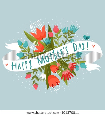 Happy Mother's Day floral greeting - stock vector