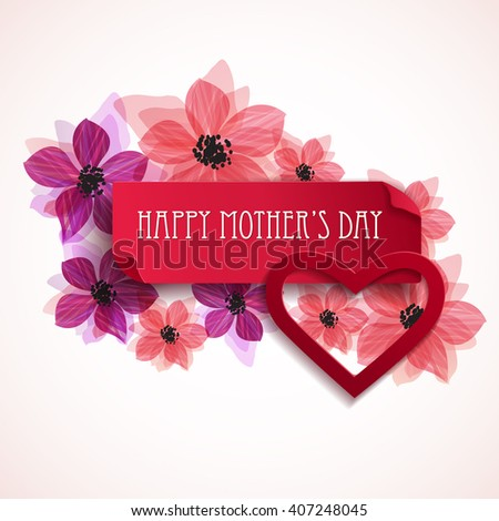 Happy Mother's Day floral greeting. Vector background - stock vector