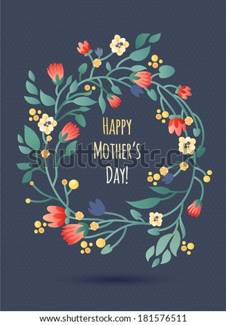 Happy Mother's Day Floral Wreath greeting Card - stock vector