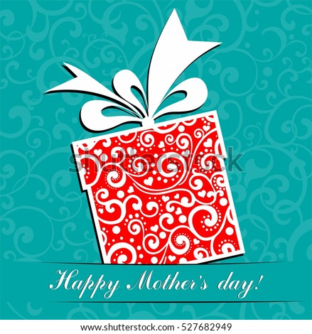 Happy Mother's Day! Greeting card. Celebration background with gift box and place for your text. Vector Illustration