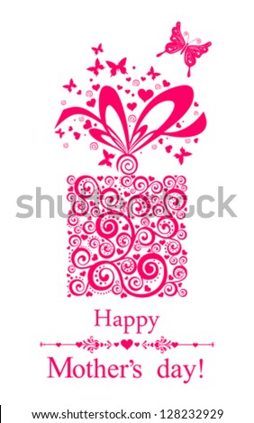 Happy Mother's Day! Greeting card.Celebration background with gift boxes and place for your text. Vector Illustration - stock vector
