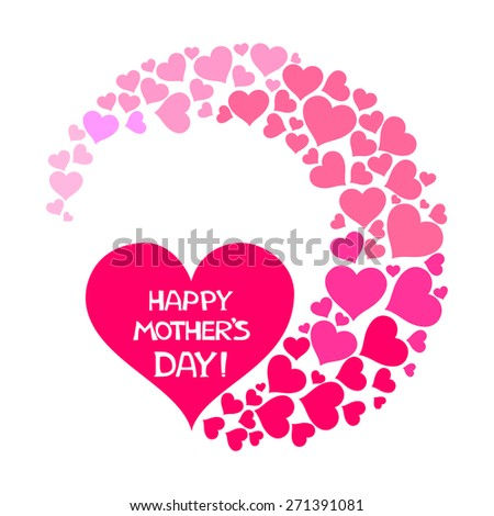 Happy Mother's Day! Greeting card. Celebration  background with pink heart and place for your text. Vector Illustration  - stock vector