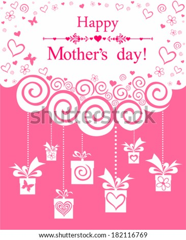 Happy Mother's Day! Greeting card.Celebration pink background with gift boxes and place for your text. Vector Illustration  - stock vector