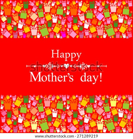 Happy Mother's Day! Greeting card. Celebration red background with colorful gift boxes and place for your text. Vector Illustration - stock vector