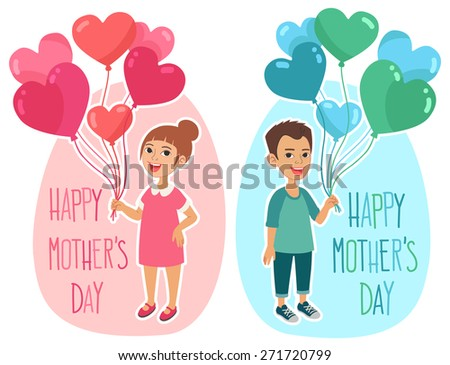Happy Mother's Day greetings card design. Little girl and boy holding a bunch of heart-shaped colorful balloons. - stock vector
