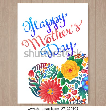 Happy mother's day hand-drawn lettering.  Happy Mothers Day Typographical Background With Spring Flowers - stock vector