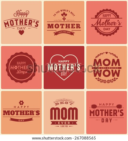 Happy Mother's Day Label Designs Collection - A set of nine pastel colored vintage style Mother's Day Designs on variously colored light creamy backgrounds