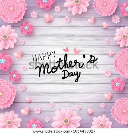 Happy mothers day message pink flowers stock vector 1064438027 happy mothers day message and pink flowers with hearts on wood texture background vector illustration mightylinksfo