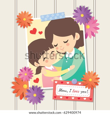 happy mothers day photo of cartoon mother and daughter hugging together photo frame with - Mother Frame