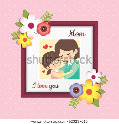 happy mothers day picture of cartoon mother and daughter hugging together photo frame with - Mother Frame