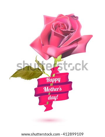Happy Mother's Day! Pink rose and ribbon - stock vector