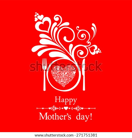 Happy Mother's Day! Restaurant Menu Card Design. Menu Template on Mother's Day. Vector illustration  - stock vector