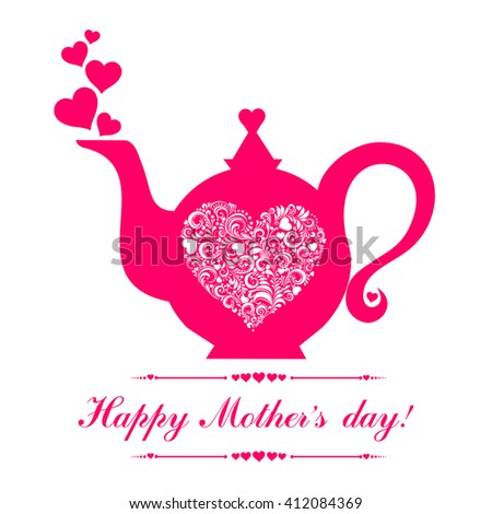 Happy Mother's Day! Tea time. Teapot with floral design elements. Pink Teapot silhouette isolated on White background. Restaurant menu or Invitation. Vector illustration - stock vector