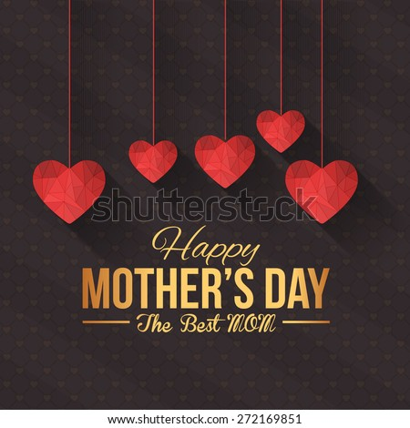 Happy Mother's Day Vector Design. Hanging Style Flat Geometric Heart Symbols. Announcement and Celebration Message Poster, Flyer - stock vector