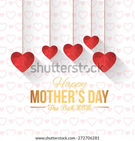 Happy Mother's Day Vector Design. Hanging Style Flat Geometric Heart Symbols. Announcement and Celebration Message Poster, Flyer