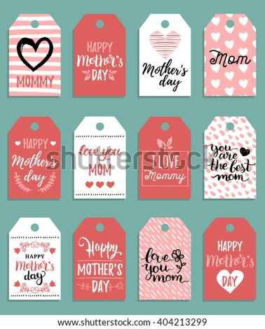 Happy Mother's day vector set of tags and labels. Happy Mother's day cards with hand drawn cute background. Mom's day cute cards. Mother's day vector typography. Happy Mothers day lettering.  - stock vector
