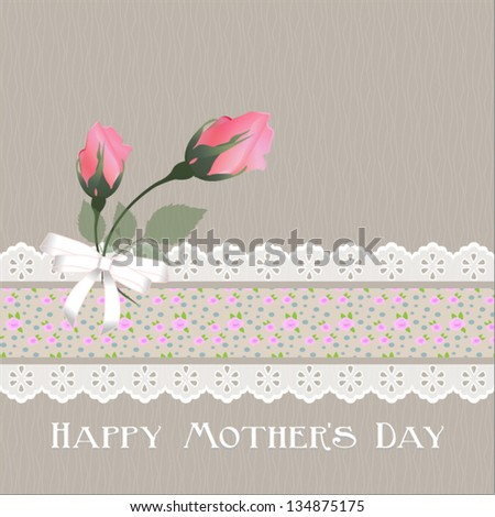 Happy Mother's Day. with beige background.Vector eps10 , illustration